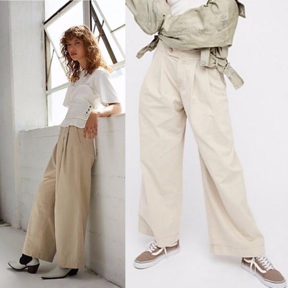 33252ad53e2f5f Free People Pants | Sale Liberty High Waist Wide Leg Pleated ...